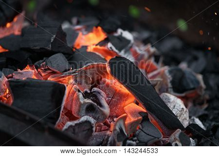 charcoal in bbq brazier closeup, shallow focus