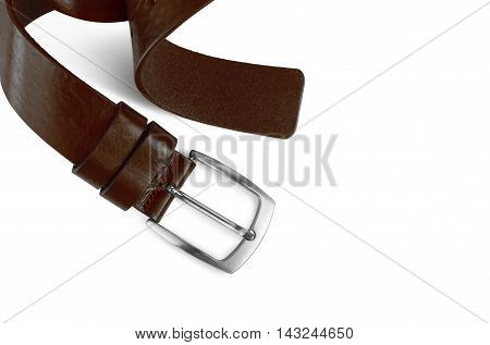 Brown men's leather belt isolated on white background. With clipping path.