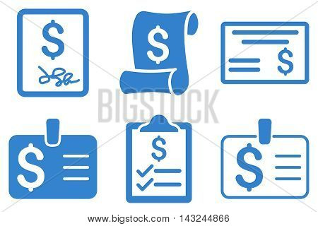 Payment Cheque vector icons. Pictogram style is cobalt flat icons with rounded angles on a white background.
