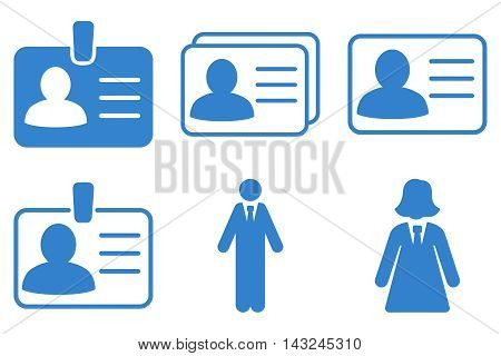 Person Account Card vector icons. Pictogram style is cobalt flat icons with rounded angles on a white background.