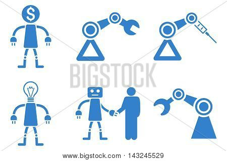 Robot vector icons. Pictogram style is cobalt flat icons with rounded angles on a white background.