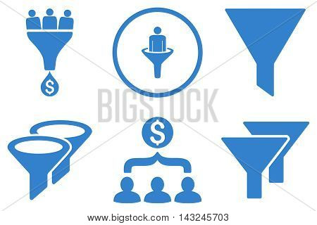 Sales Filter vector icons. Pictogram style is cobalt flat icons with rounded angles on a white background.