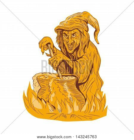Drawing sketch style illustration of a witch stirring brew in a pot facing front set on isolated white background.