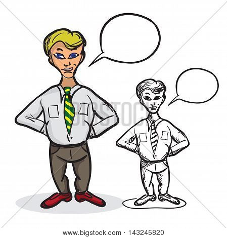 Male businessman in a tie holding hands behind his back hiding something. Vector sketch illustration