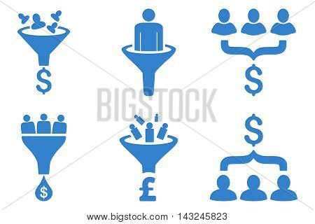 Sales Funnel vector icons. Pictogram style is cobalt flat icons with rounded angles on a white background.