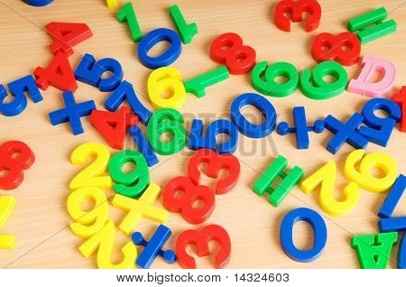 Children letters and digits on the table