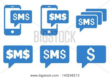 SMS Messages vector icons. Pictogram style is cobalt flat icons with rounded angles on a white background.