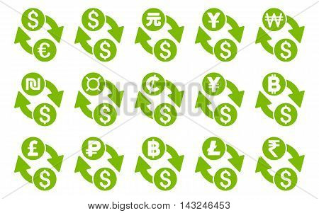 All Currency Exchange vector icons. Pictogram style is eco green flat icons with rounded angles on a white background.