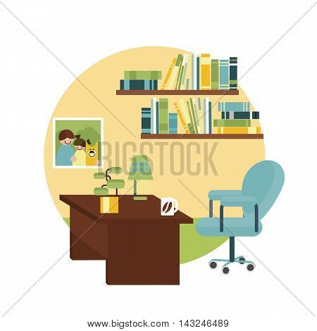 Home stude workplace. Table, chair, book, flower