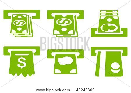 ATM Cashpoint vector icons. Pictogram style is eco green flat icons with rounded angles on a white background.