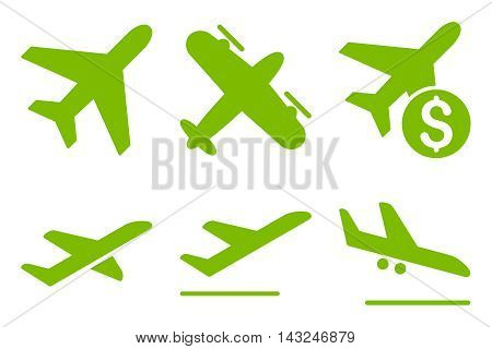 Aviation vector icons. Pictogram style is eco green flat icons with rounded angles on a white background.