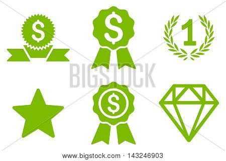 Award vector icons. Pictogram style is eco green flat icons with rounded angles on a white background.