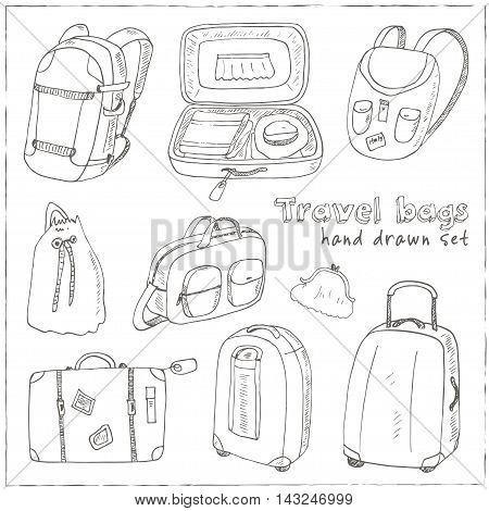 Black contours of different travel bags and suitcases Vector illustration