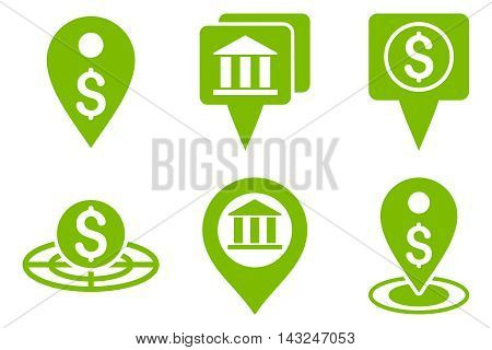 Bank Location vector icons. Pictogram style is eco green flat icons with rounded angles on a white background.