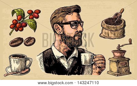 Hipster barista holding a cup of hot coffee. Sack with coffee beans with wooden scoop and beans, cup, branch with leaf and berry. Vintage color vector engraving illustration. Isolated on beige background.