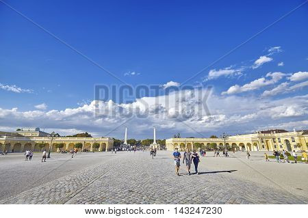 Vienna, Austria - August 14, 2016: People Entering The Schonbrunn Palace, Former Imperial Summer Res