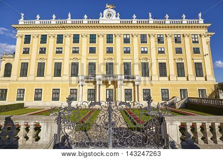 Vienna, Austria - August 14, 2016: Side View Of The Schonbrunn Palace, Former Imperial Summer Reside