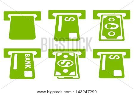 Banking ATM vector icons. Pictogram style is eco green flat icons with rounded angles on a white background.