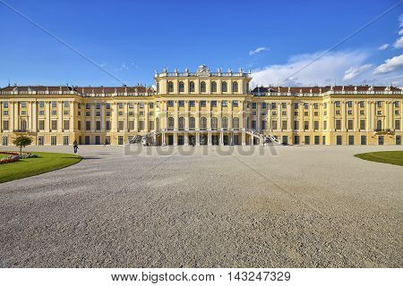 Vienna, Austria - August 14, 2016: Front View Of The Schonbrunn Palace, Former Imperial Summer Resid