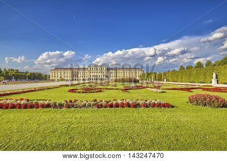 Vienna, Austria - August 14, 2016: Garden In The Schonbrunn Palace Complex, Former Imperial Summer R