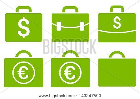 Business Case vector icons. Pictogram style is eco green flat icons with rounded angles on a white background.