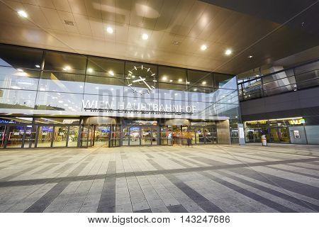 Vienna, Austria - August 14, 2016: Entrance To The Wien Hauptbahnhof, Main Railway Station In Vienna