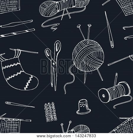 seamless pattern -for sewing knitting crafts hobbies. Vector illustration