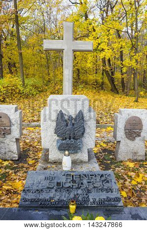GDANSK, POLAND - NOVEMBER 7: Grave of Major Henryk Sucharski on the Westerplatte on November 7, 2010 in Gdansk.