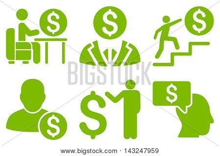 Businessman vector icons. Pictogram style is eco green flat icons with rounded angles on a white background.