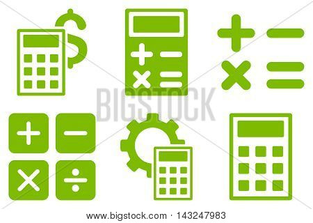 Calculator vector icons. Pictogram style is eco green flat icons with rounded angles on a white background.