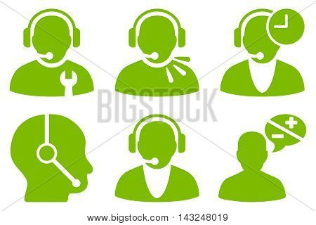 Call Center Operator vector icons. Pictogram style is eco green flat icons with rounded angles on a white background.
