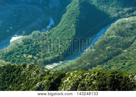 Amazing view to Meander of  Nestos River near town of Xanthi, East Macedonia and Thrace, Greece