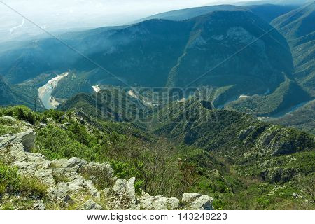 Panorama of  Nestos Gorge near town of Xanthi, East Macedonia and Thrace, Greece
