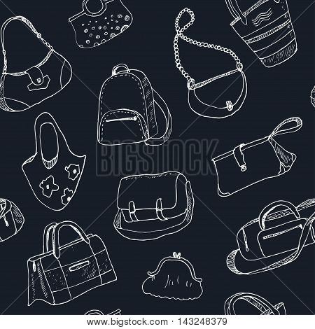 Hand drawn doodle sketch illustration seamless pattern bags - baggage for travel, suitcase, case, handbag Vector