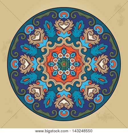 Colorful ethnic round ornamental mandala. Oriental arabesque pattern background. Vector illustration.