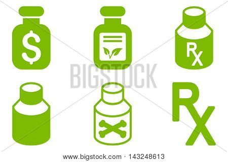Drugs Vial vector icons. Pictogram style is eco green flat icons with rounded angles on a white background.