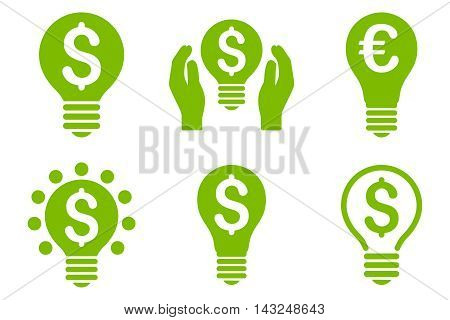 Electric Light Price vector icons. Pictogram style is eco green flat icons with rounded angles on a white background.