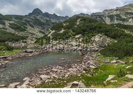 Amazing view of Rocky peaks and Upper  Muratovo lake, Pirin Mountain, Bulgaria