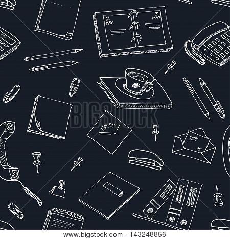 office tools doodles pen, pencils, book, paper vector illustration seamless pattern