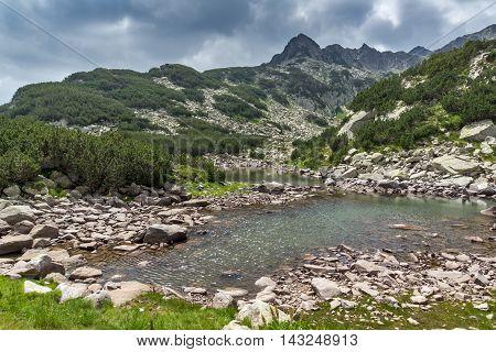 Amazing Panorama of Rocky peaks and Upper  Muratovo lake, Pirin Mountain, Bulgaria