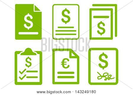 Invoice vector icons. Pictogram style is eco green flat icons with rounded angles on a white background.