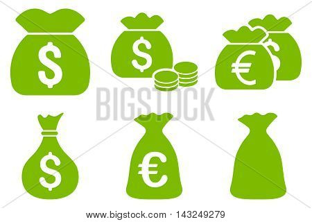 Money Bag vector icons. Pictogram style is eco green flat icons with rounded angles on a white background.