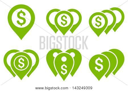 Money Map Markers vector icons. Pictogram style is eco green flat icons with rounded angles on a white background.