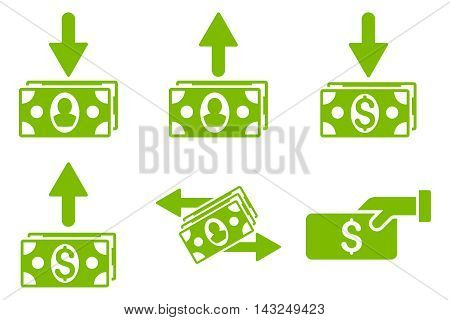 Pay Banknotes vector icons. Pictogram style is eco green flat icons with rounded angles on a white background.