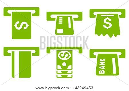 Pay Box vector icons. Pictogram style is eco green flat icons with rounded angles on a white background.