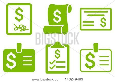 Payment Cheque vector icons. Pictogram style is eco green flat icons with rounded angles on a white background.