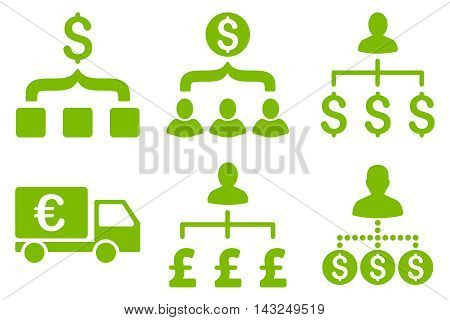 Payment Collector vector icons. Pictogram style is eco green flat icons with rounded angles on a white background.