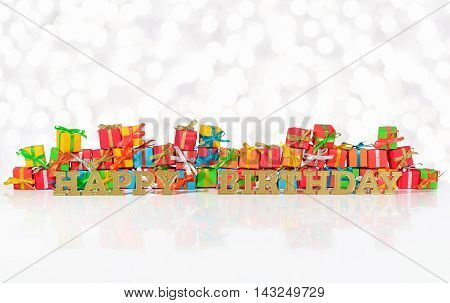 Happy Birthday Golden Text And Varicolored Gifts