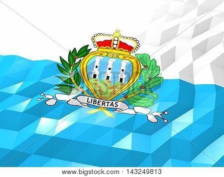 Flag Of San Marino 3D Wallpaper Illustration