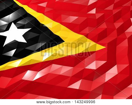 Flag Of Timor-leste 3D Wallpaper Illustration